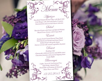 "DIY Wedding Menu Template Instant Download - Printable Menu ""Diana"" Violet - Printable Wedding Menu Card Template - Entree Card"