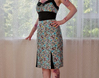 Rockabilly 'Gabriella' Sugar Skull Wiggle Dress with Gathered Front, Black Lapel, Pencil Skirt and Pleats - Custom made to fit