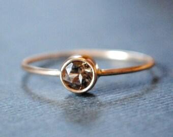 Gem Ring/Solid Gold Ring/Thin Gold Ring/Tiny Gold/Gemstone/Smokey Quartz/Skinny Gold Ring/Custom/Gray/Teeny Weenie Gem Ring *Solid 14k Gold*