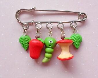 Fruit Jewelry - Apple Brooch - Funny Gift - Fruit Brooch - MIniature food Gift