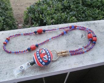 Auburn Tigers ID Badge Beaded Lanyard Orange and Blue Retractable ID Badge Reel