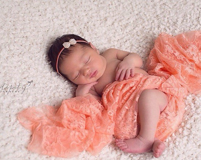 Peach papaya stretch lace swaddle wrap AND/OR Pearl Bow headband for newborn photo shoots, lace wrap by Lil Miss Sweet Pea
