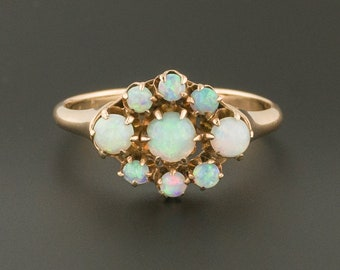 10k Gold Opal Ring | Antique Opal Ring | Opal Evil Eye Ring | 10k Gold Ring | Antique Ring | October Birthstone