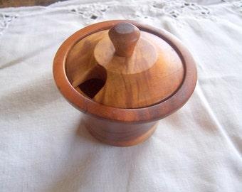 Wooden Bowl w Lid, Handturned Wood, Serving Bowl, Trinket Bowl, Sugar Bowl, Organic Gift, Kitchen Wood Bowl