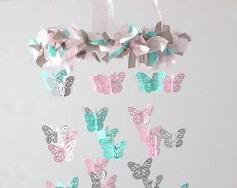 Pink Aqua Gray Butterfly Nursery Mobile- Nursery Decor, Baby Shower Gift, Nursery Mobile