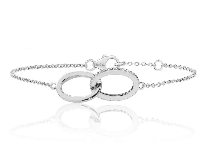 """925 Sterling Silver Cz Double Infinity Link 7"""" Bracelet Rhodium Plated"""