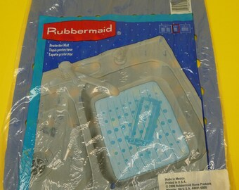 "NEW Rare Vintage RUBBERMAID Sink Mat Light Blue Sealed 10 3/4"" x 12 3/4"""