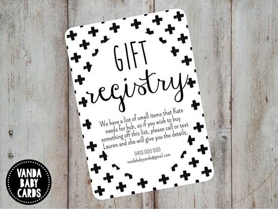 Gift Registry Card Swiss Cross Invite Invitation Insert