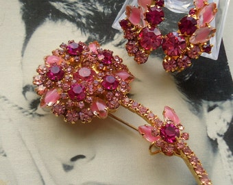 DeLizza and Elster a/k/a Juliana Pink Givre Art Glass Flower Figural Brooch and Earrings Demi Parure  Zoom In for Detail