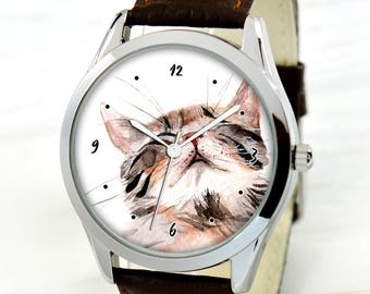 Watercolor Cat Watch - Cat Lover Gifts Women - Cats Watch - Cat Lover Gift - Cat Lover Gifts For Men - Cute Gifts For Wife - Birthday Gift