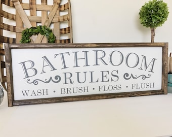 Bathroom Rules Sign, Bathroom Sign, Bathroom Decor, Bathroom Wall Decor, Brush, Bathroom Decor, Rustic Bathroom Sign, Bathroom Art