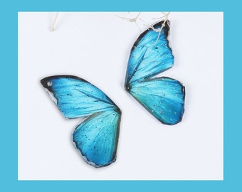 2 Blue Butterfly Wing Charms - C2685