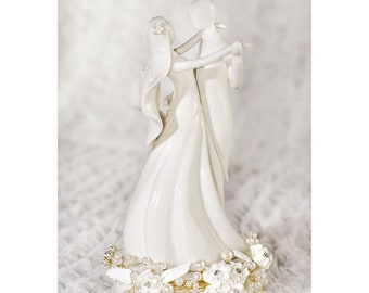 Stylized Dancing Rose Pearl Wedding Cake Topper - 101127