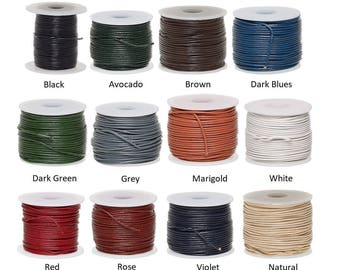 2mm leather round lace, genuine round cord leather 2mm, genuine round leather cord 2mm, stringing material 2mm genuine leather round cord.