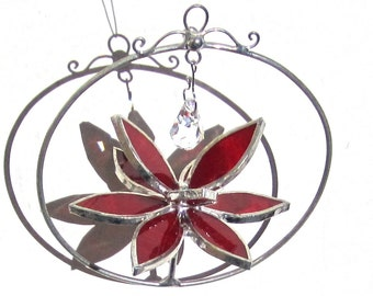 You Pick Any Color and Size - 3D Stained Glass Lotus Spinner - Spinning Flower Suncatcher Ornament Home Decor Wire Crystal (MADE TO ORDER)
