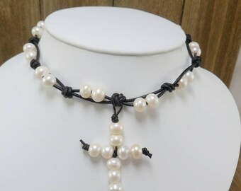 Knotted Black Leather and white Freshwater Pearl Cross Necklace,Boho Jewelry ,ID Jewelry Designs,Gift Idea ,cross Necklace