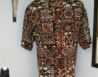CAMP CLERICAL BROWN geometric print. Select size of body choice for made to order. Select Tab or Fullband collar ready Clergy untucked style