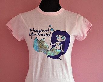 Pastel pink Magical mermaid T-shirt - girly fairy kei shirt with holographic print - soft grunge anime manga chibi art