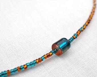 Mothers Day Gift Minimal Bracelet or Necklace Magical Ombre Petite Bracelet Tiny Bracelet Thin Friendship Bracelet 2 Tone Teal Orange Custom