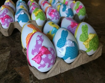 Decoupage Easter egg, bunny decor, Spring, decorated eggs, farmhouse kitchen, shabby chic, centerpiece, colorful eggs, set of 6.