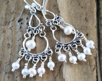 AAA White Pearl and Hill Tribe Silver Earrings, Bali Silver Chandelier Earrings, Sterling Silver, June Birthstone, Bridal Jewelry