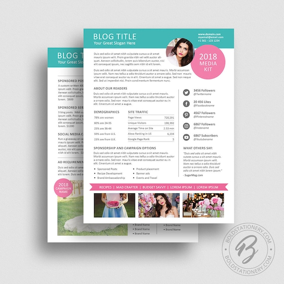 Blog Media Kit Template  Ad Rate Sheet Template Press