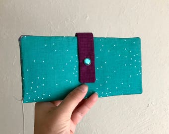 Teal and Purple - Long Wallet Clutch - Card Slots, Zipper, Cash