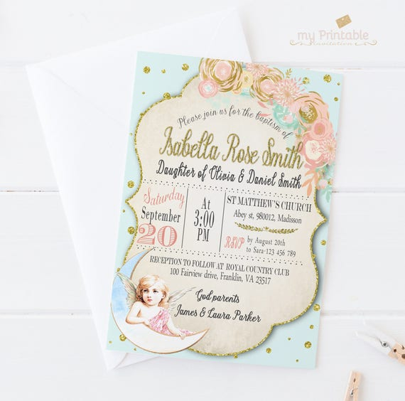 Baptism Invitation Angel Baptism Printable Invitation
