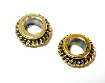 2 pearls Golden ribbed Rondelles 8mm MB29