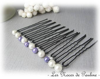 Ivory and purple hair simple set of 10