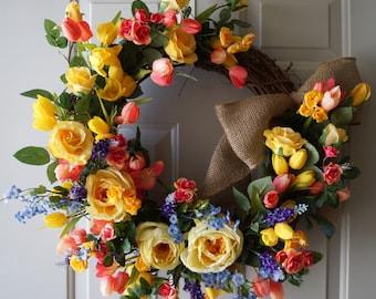 Roses Spring Wreath Large Summer Wreath Yellow Peach Roses and Lavender Cottage Wreath