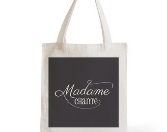 Tote Bag Lady Sings, gift for her, typography, statement, quote