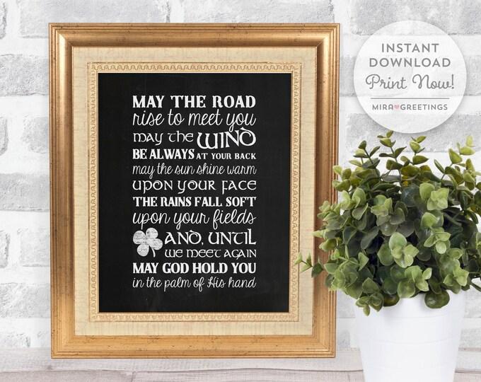 Irish Blessing Digital Art - May the road rise to meet you - blackboard chalkboard subway art - digital printable file - instant download