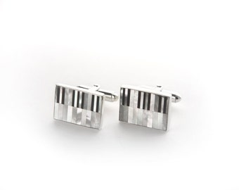 Piano Keys Black Onyx and Mother of Pearl Sterling Silver Cufflinks