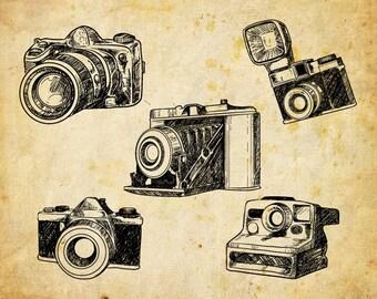 Hand Drawn Cameras Clip Art, Cameras Clipart, Digital sketchy Cameras,  Vector EPS - INSTANT DOWNLOAD