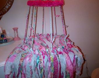 Ribbon lampshade etsy handcrafted ribbon rag fabric shabby chic lampshade frame aloadofball Choice Image
