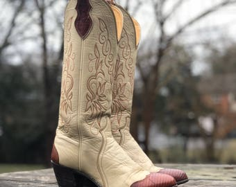 6.5 B | Women's Heeled Justin Western Boots with Lizard Tips