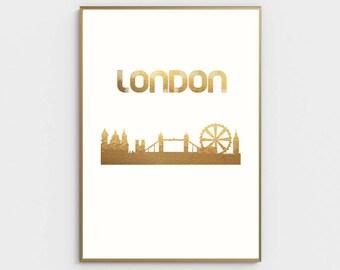 London City Gold Foil Print Modern Poster