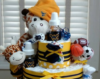Sports Diaper Cake,  basketball diaper cake, football cake, 3 tier - custom made to your team
