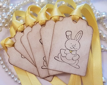 Easter Gifts, Easter Tags, Vintage Easter Tags, Hoppy Easter Tags, Easter Cards, Easter Favors, Chocolate Favours, Easter Bunny Tags