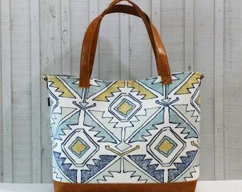 READY TO SHIP - Mojave Blue Aztec with Vegan Leather - Tote Bag /  Diaper Bag /  Medium Bag -