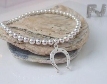 Good luck Bracelet, Charm Bracelet, Bead Bracelet, Horseshoe Bracelet, Silver Horseshoe, Horse Lover, Sterling Silver, Equestrian Jewellery
