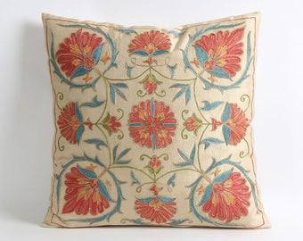pillow, throw pillow, pillow cover, cushion, 18x18 decorative pillow, eclectic home decor, silk suzani pillow cover, floral pillow