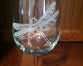 Dragonfly Etched Glassware