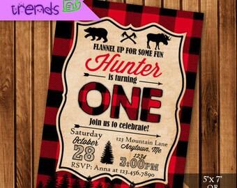Lumberjack Custom Birthday Invitation, Buffalo Plaid Printable Party Invite, 5x7 or 4x6 Invite, Rustic DIY Birthday Invite