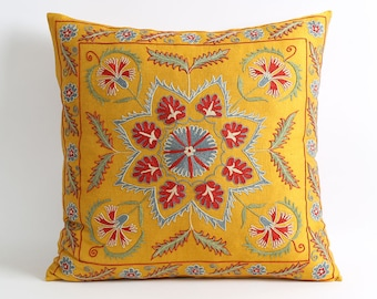 yellow suzani throw pillows, embroidery pillow, designer pillows, cushion, home decor, silk pillow, pillowcase, silk embroidery, yellow silk