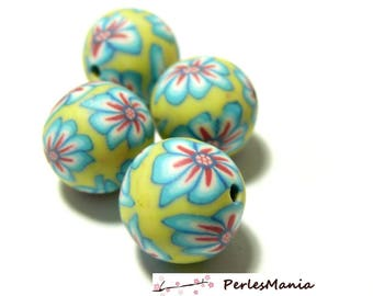 10 polymer clay beads round 12mm refY51 tones PASTEL flower