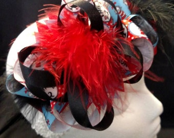 Dr. Seuss Cat in the Hat Thing 1 and Thing 2 Over-The-Top Hair Bow Hairbow