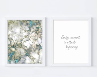 Every Moment Fresh Beginning, Wall Quote Print, Typography Print, Gift For Her, Bedroom Art, Feminine Art, Believed She Could, Printable Art