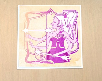 Bright Archer - 5x5 inch blank card  featuring Steven Universe inspired Protective Crest Opal  Pearl and Amethyst